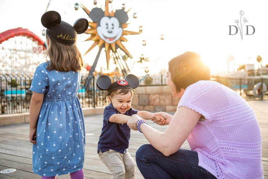 California Adventures Family Photos in front of Ferris Wheel