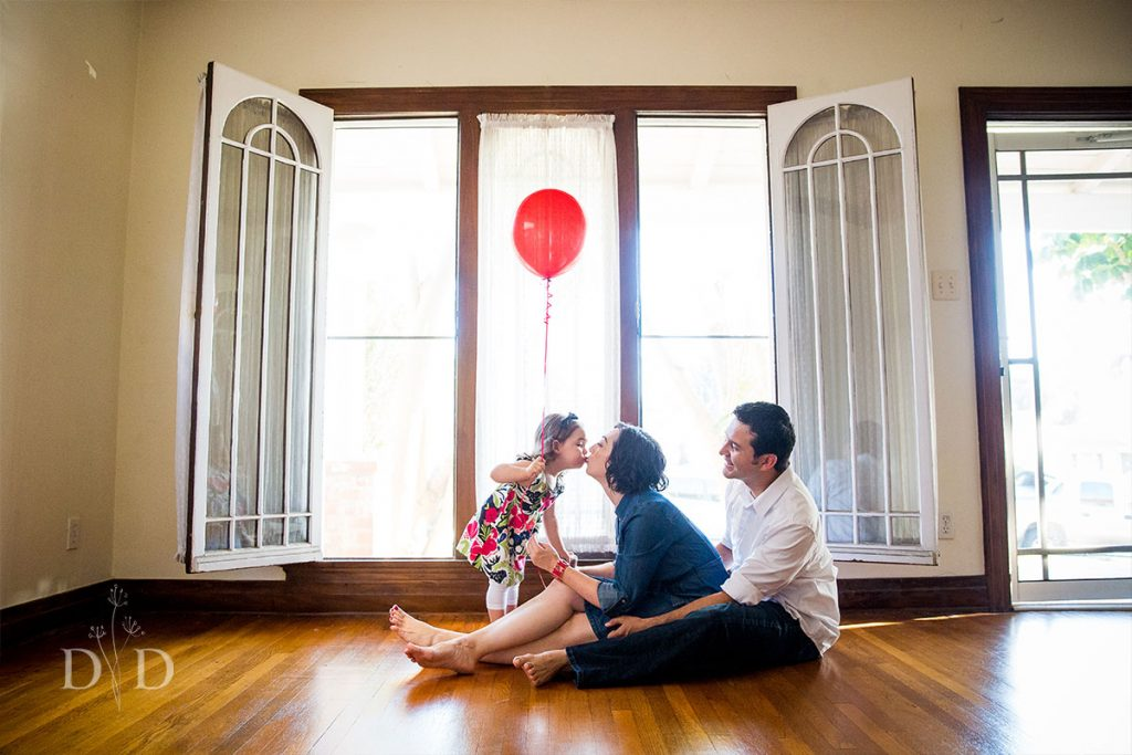 Family Photography with Red Balloons