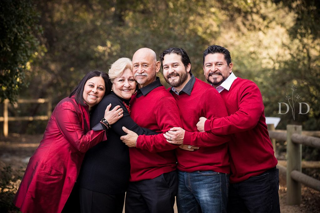 Christmas Family Photo with Red Sweaters