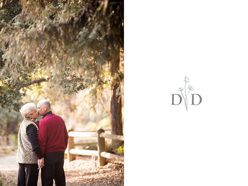 Grandparents kissing