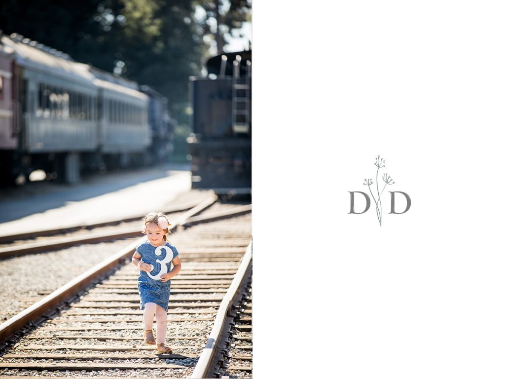 Family Portrait of Child on Railroad Tracks