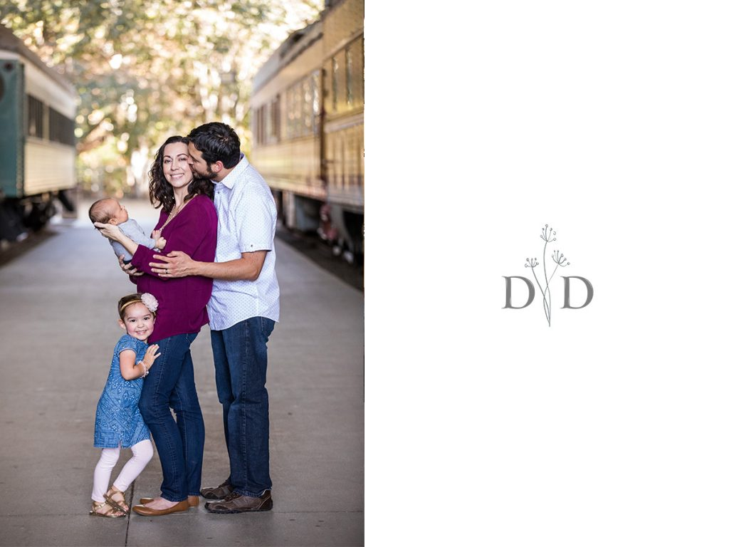 Travel Town Family Photos with Newborn