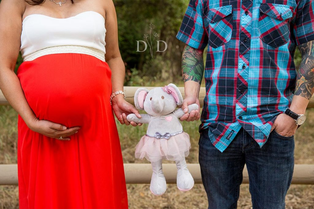 Maternity Photos with Stuffed Animal Toy