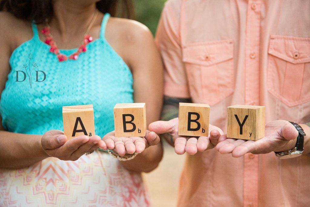 Maternity Photos with Baby Name Blocks