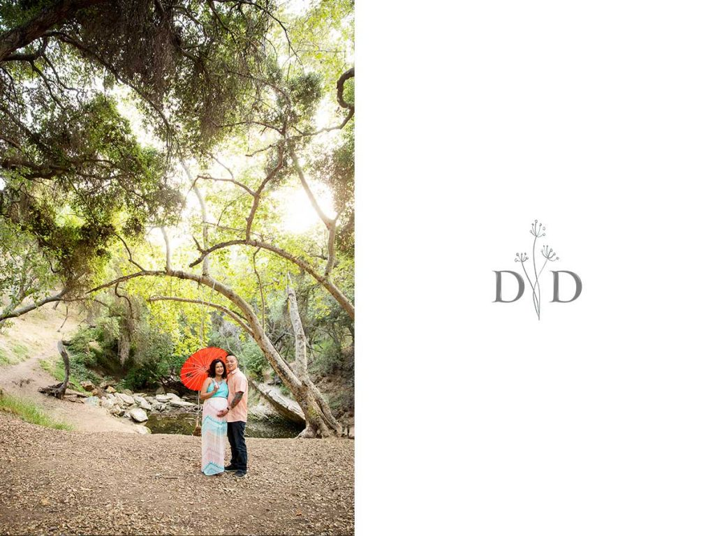 Maternity Photos with Red Parasol