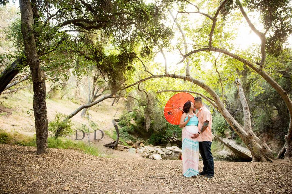 Maternity Photos with Red Umbrella