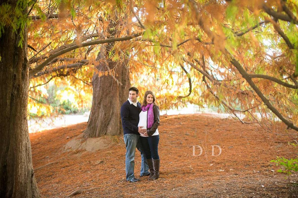 Maternity Photography with Fall Leaves in Orange County