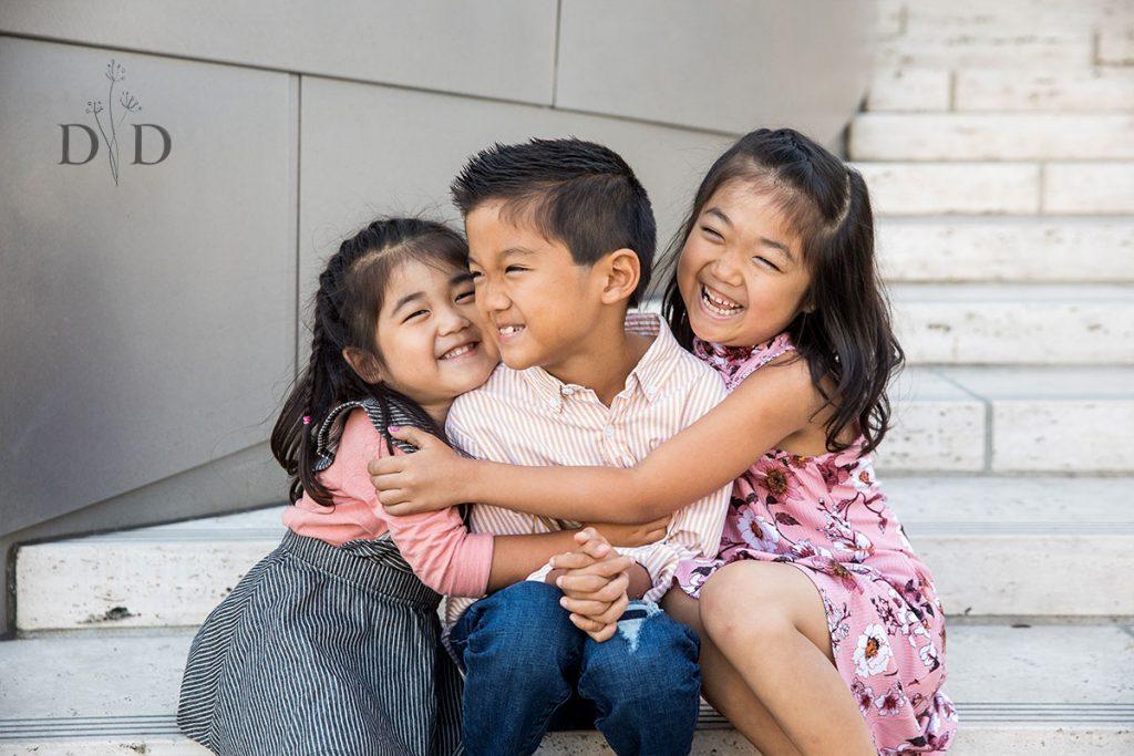 Cute Three Children Family Portrait
