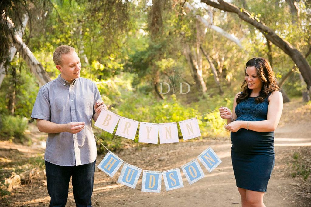 Maternity Photos with Lettered Sign