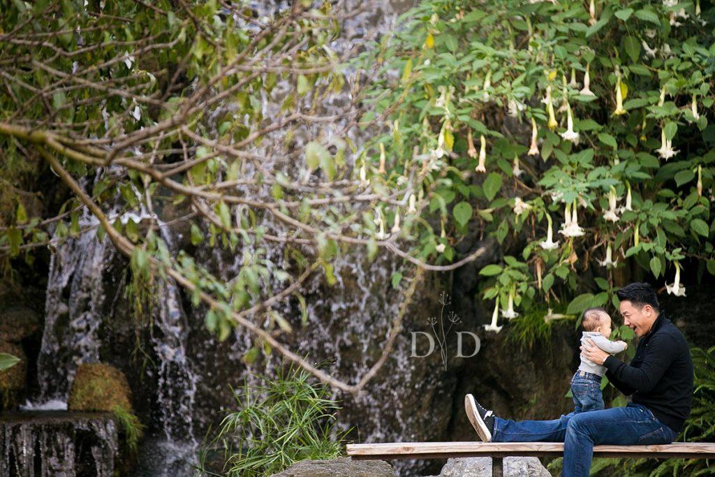 LA Arboretum Family Photo at the Waterfall
