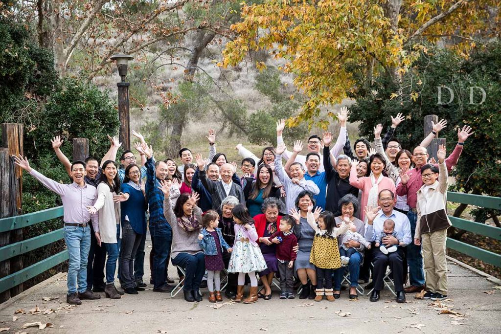 Large Family Photo Cheering
