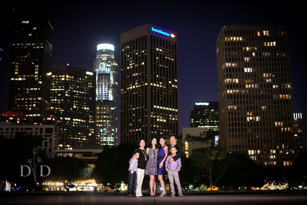 DTLA Family Photos at Night Skyline
