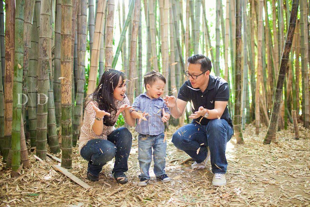 LA Arboretum Family Photo in the Bamboo