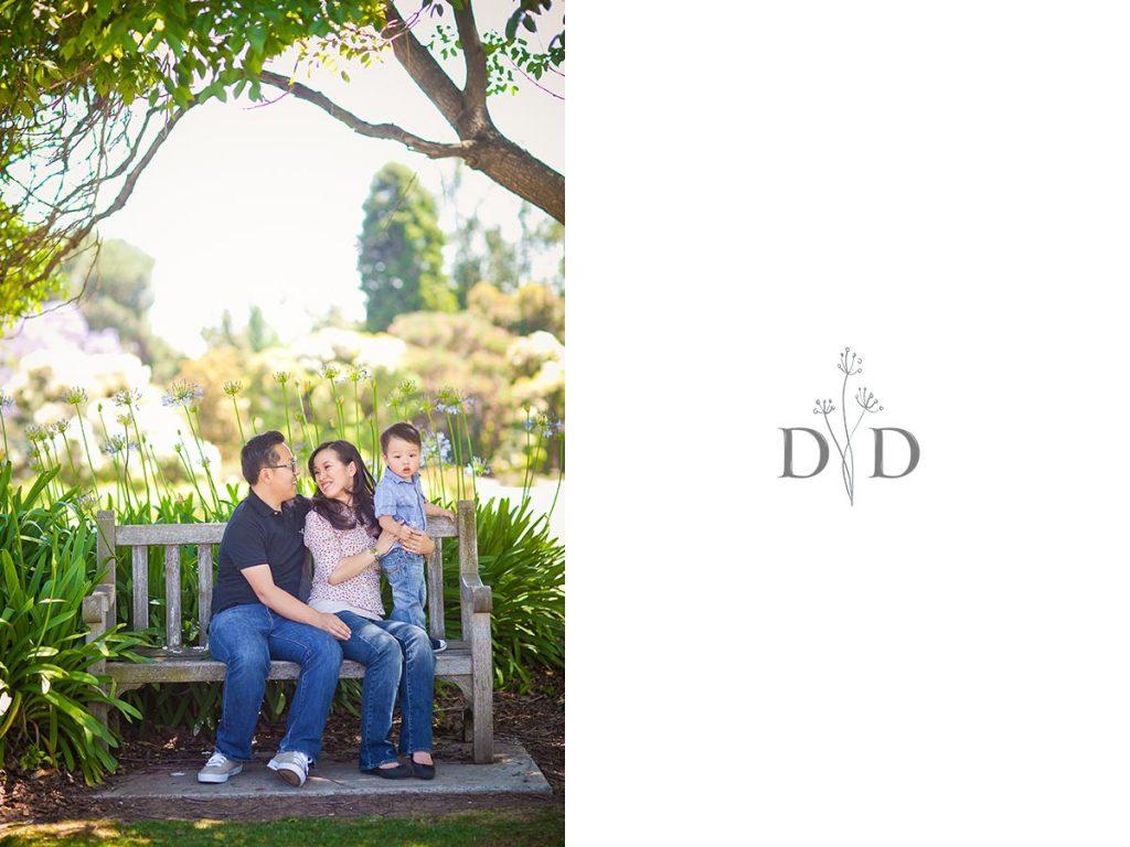 LA Arboretum Family Photo on a Bench