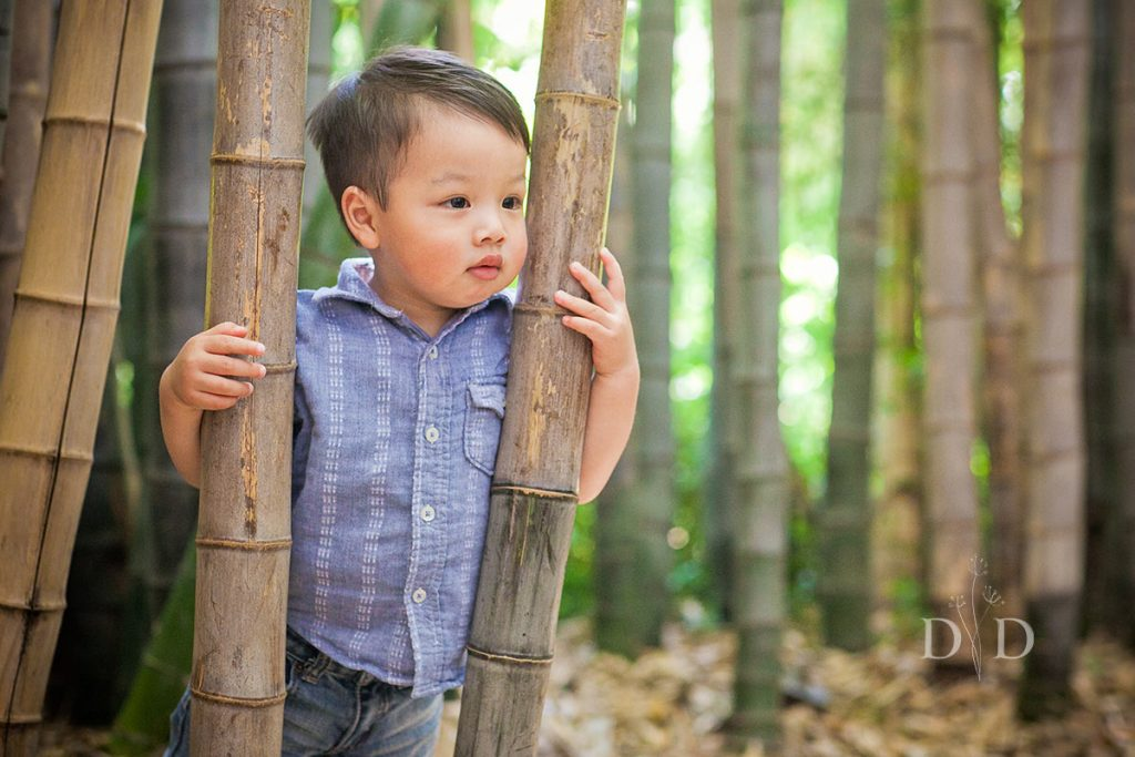 Toddler in the Bamboo Forest at the LA Arboretum