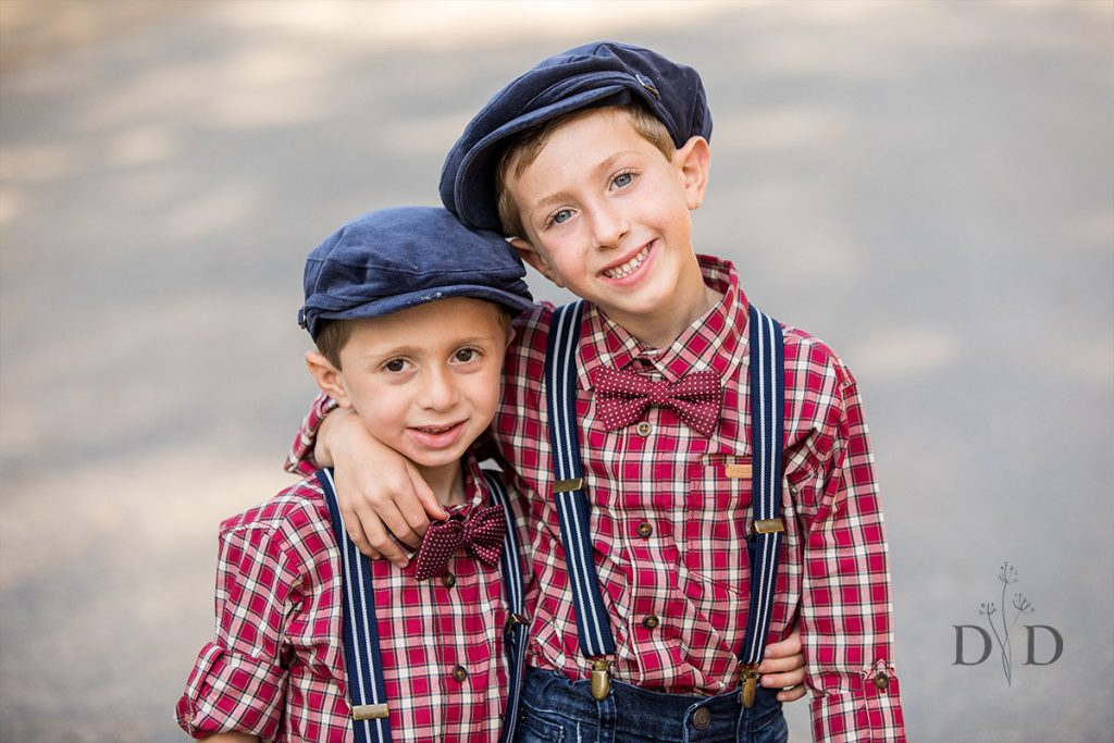Two Sons in Plaid and Overalls