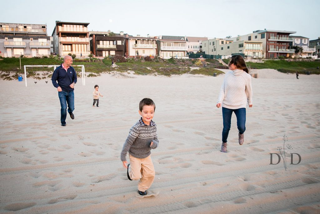 Family Photo Running on the Sand
