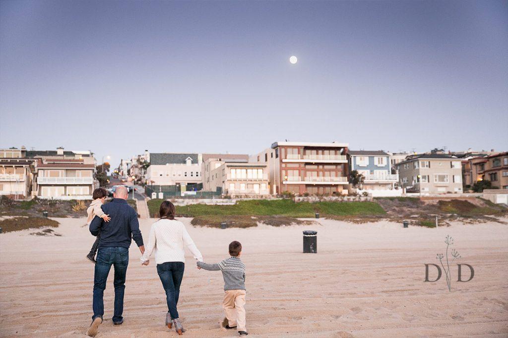 Manhattan Beach Family Photography with Moon