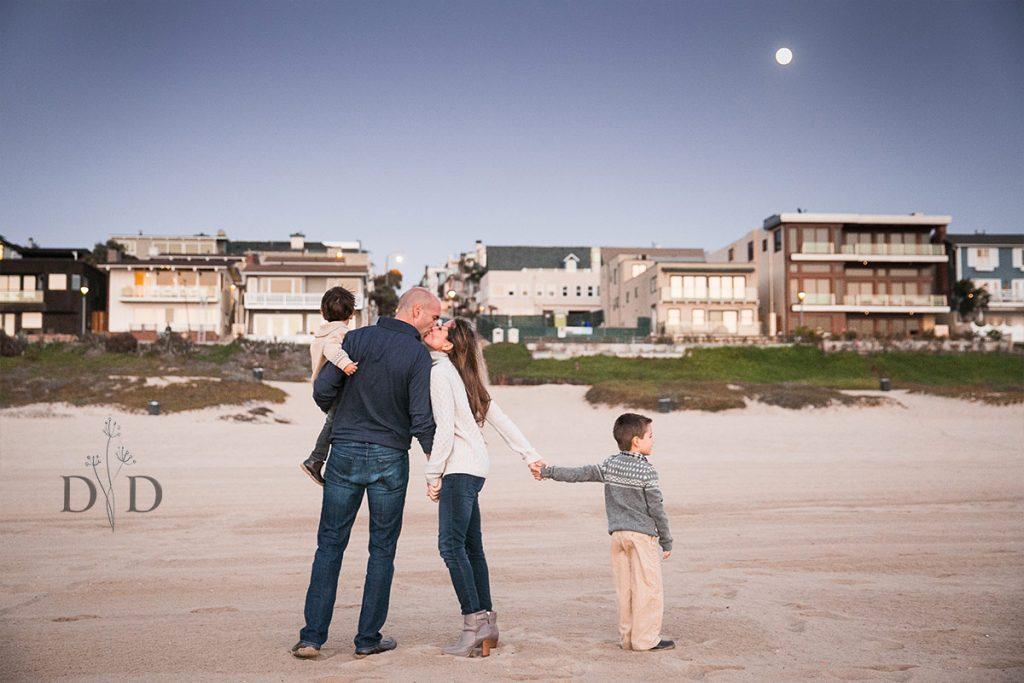 Manhattan Beach Family Photo with Moon