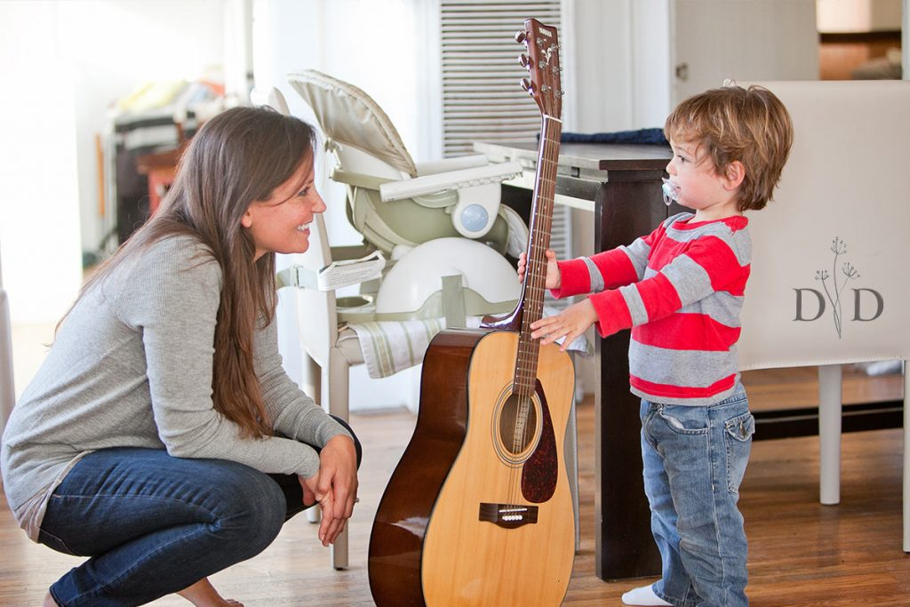 Lifestyle Family Photo of Son with Guitar