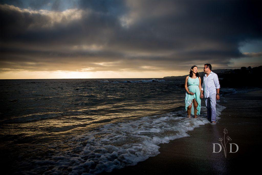 Laguna Beach Maternity Photos Walking in the Sand