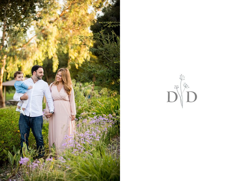 San Dimas Family Photo with Infant and Purple Flowers