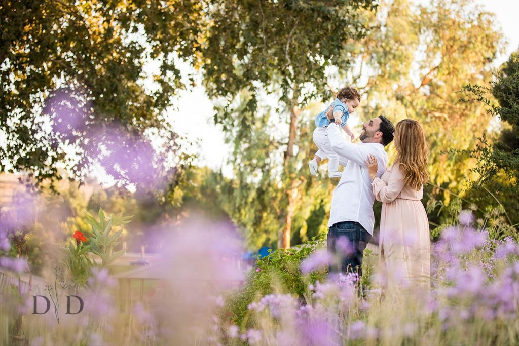 Cute San Dimas Family Photo with Infant and Purple Flowers