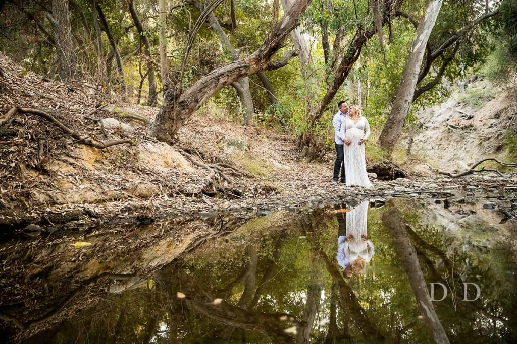 Maternity Photography on a Creek or Stream