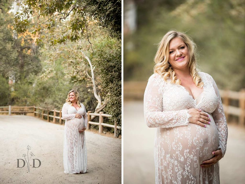 Maternity Photography Near Fence in Park