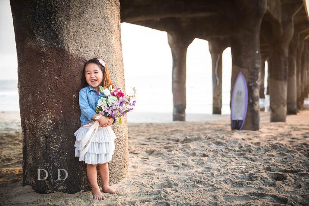 Manhattan Beach Pier Family Photo of Daughter