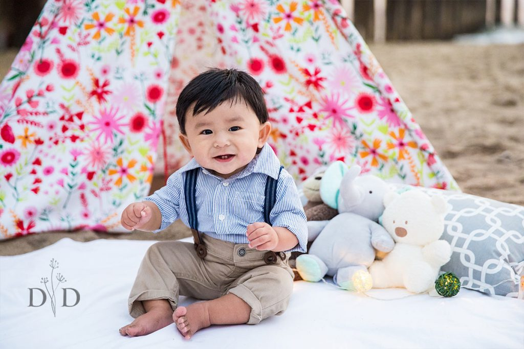 Baby Boy at the Beach with a Tent