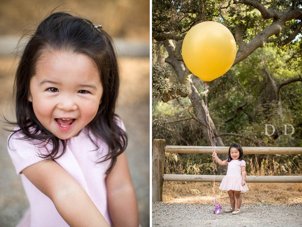 Cute Daughter with Huge Yellow Balloon Family Photo