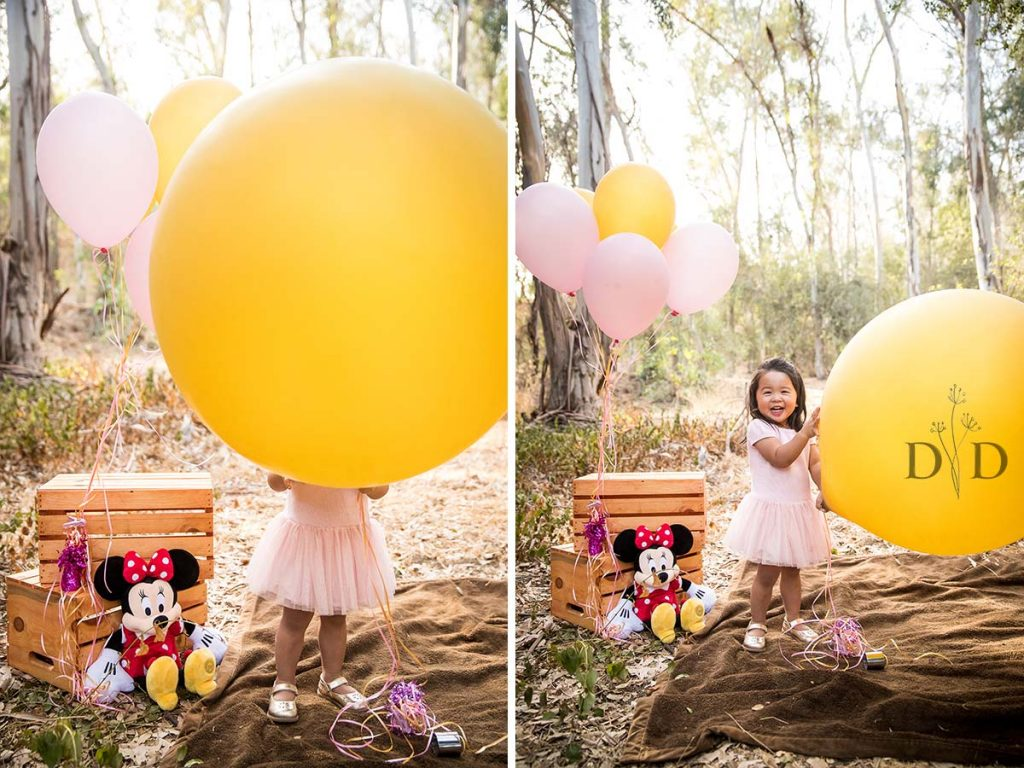 Little Girl Huge Yellow Balloon Family Photos