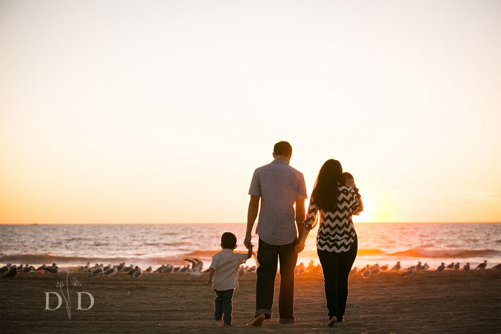 Family Photo at the Beach with the Sunset