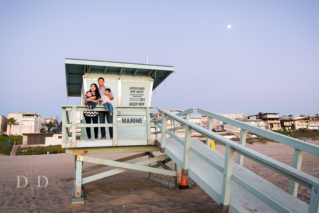 Family Photo with Lifeguard Tower