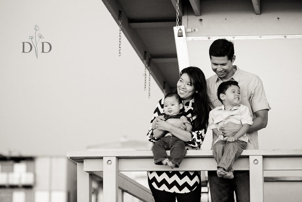 Family Photography with Beach Lifeguard Tower