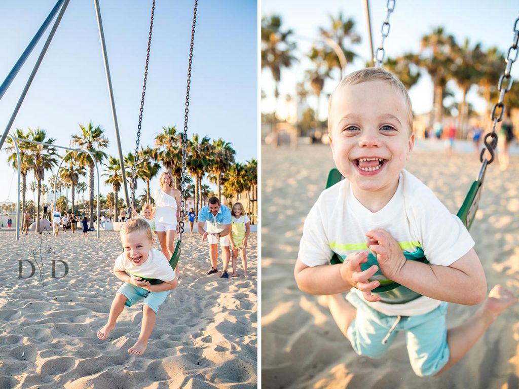Santa Monica Beach Family Photography Swings
