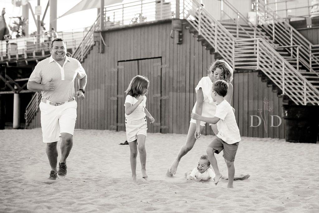 Family Photography Santa Monica Beach Black and White